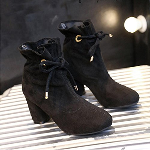 Ankle Heel Boots Womens Black Chunky Winter up Inkach Lace Martin Shoes qF1gw