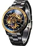 Carrie Hughes Men's Steampunk Automatic Watch Self-winding Skeleton Mechanical Stainless Steel CH88226GD