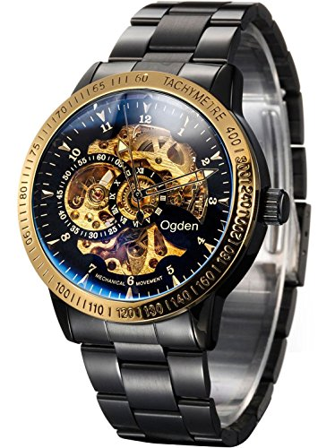 Carrie Hughes Men's Gold Automatic Watches Steampunk Skeleton Self-winding Mechanical Stainless Steel Discolored Glass Waterproof Watch (CH88226GD) (Classic Field Black Dial)