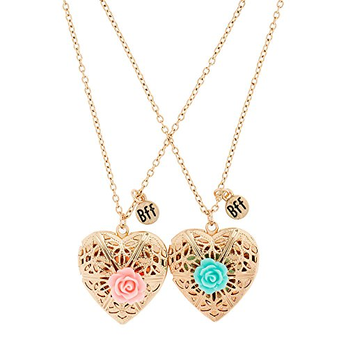Claire's Girl's Best Friends Gold Heart Locket Necklaces with Rose Set of (Best Friends Lockets)
