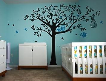 Pop Decors Vinyl Art Wall Decals, Nursery Tree With Cute Owls