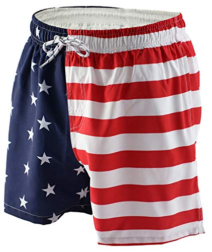 a88a912c21 Tyhengta Mens American Flag Swim Trunks Quick Dry Bathing Suits Shorts  Medium