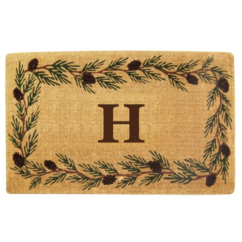 Nedia Home Heavy Duty Coco Mat with Evergreen Border, 30 by 48-Inch, Monogrammed ()