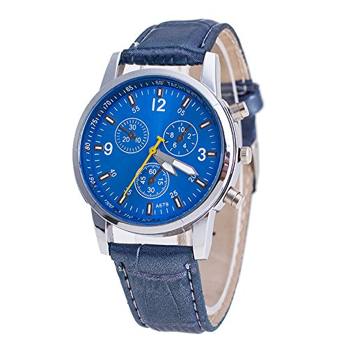 Bessky Men's Crocodile Faux Leather Analog Watch