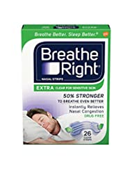 Breathe Right Extra Strength Clear Drug-Free Nasal Strips for...