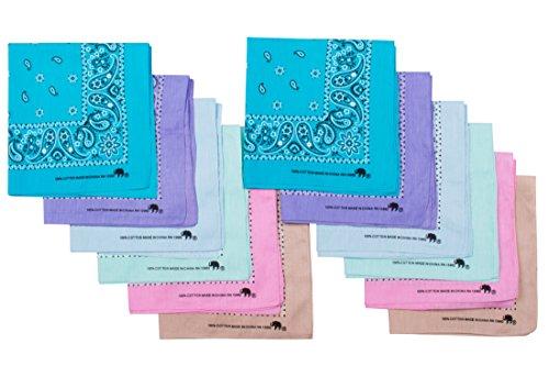 Elephant Brand Bandanas 100% Cotton Since 1898-12 Pack (Assorted -