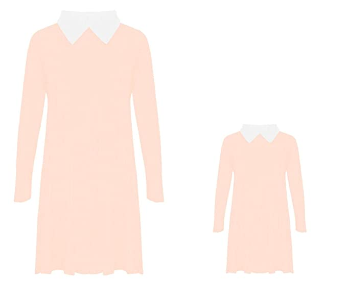 RSVH Girls Kids Peter Pan Collar Long Sleeve Flared Swing Dress Top White-Collar
