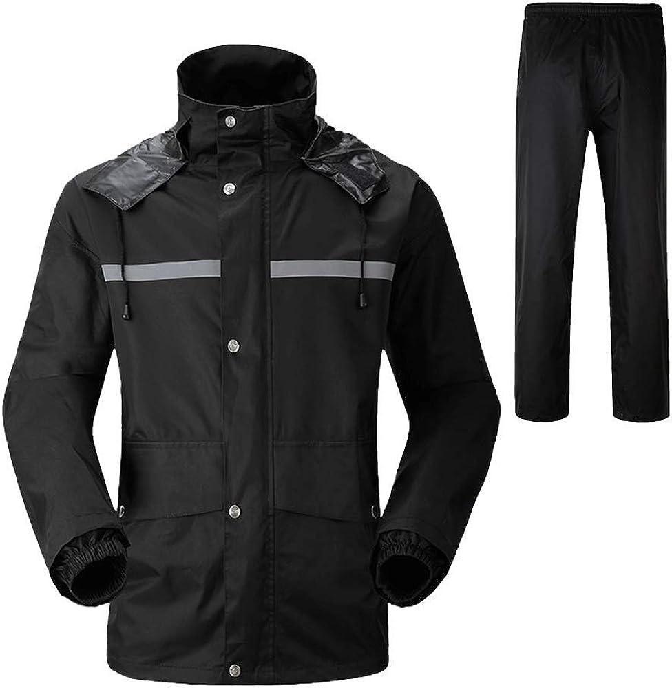 HIENAJ Mens Solid Outdoor Rain Jacket Zip Pockets Water Resistant Trench Coat Jackets