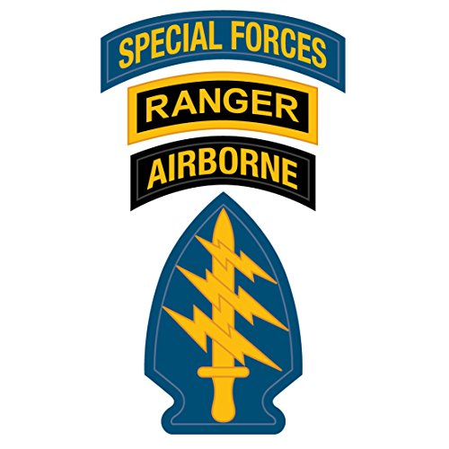 US Army - Special Forces Ranger Airborne Patch Decal - 3.5 Inch Tall Full Color Decal, (Special Forces Decal)