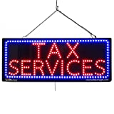 LARGE LED OPEN SIGN - ''TAX SERVICES'' 13''X32'' size, ON / OFF / FLASHING MODE (LED-Factory #2639fba)