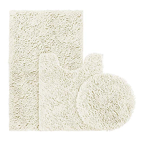 BYSURE Ivory White Bathroom Rug Set 3 Piece, Bath Rugs Toilet Rugs and Mats Sets, Extra Absorbent Shaggy Chenille…
