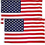 Cheap American Flag 3×5 Foot 2Pack, Honoring Law Enforcement Officers US Flag with 2 Brass Grommets – Bright Color and UV Fade Resistant (US Flag)