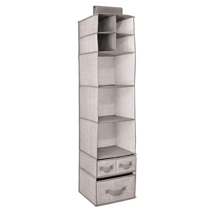 meuble suspendu polyvalent /à unit/és de stockage id/éale pour peluches boite de rangement lot de 2 mDesign /étag/ère de rangement /à suspendre gris couches et serviettes