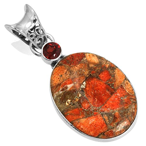 - Solid 925 Sterling Silver Fashion Jewelry Natural Copper Sponge Coral Gemstone Pendant