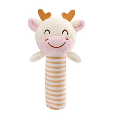 NUOBESTY Baby Handbell Rattles Squeaker Sticks Plush Stuffed Cow Animal Shaking Bell Toy Soothing Appease Toys Infant Gift Newborn Favors: Garden & Outdoor