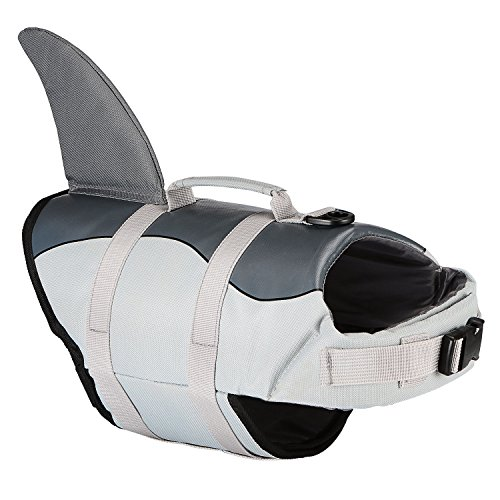 ket, Adjustable Pet Safety Floatation Vest Life Preserver Swimming/Boating / Beach Playing, Two Cute Patterns Available (M, Grey Shark) ()