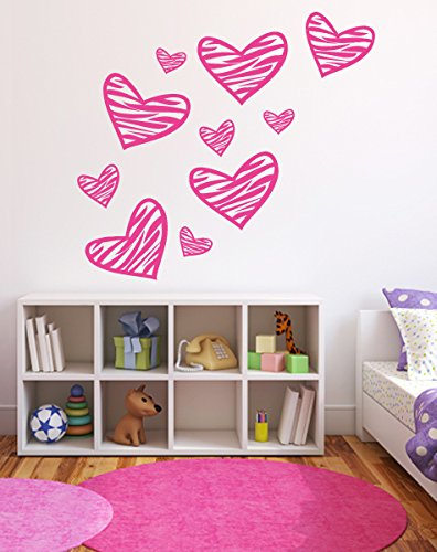 Zebra Decal Set (Zebra Pattern Pink Hearts Girl's Room Wall Decal - 14