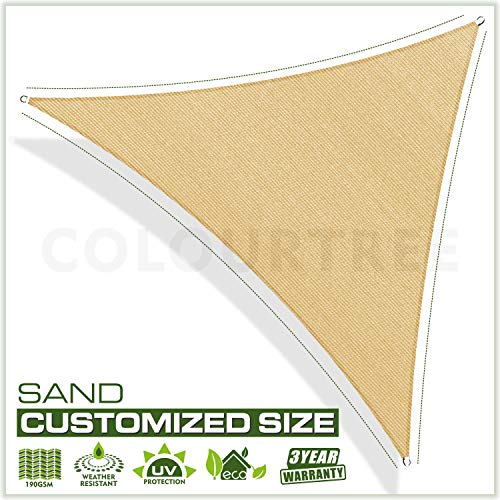 ColourTree 24' x 24' x 33.9' Sand Beige Sun Shade Sail Right Triangle Canopy Awning Fabric Screen - UV Block UV Resistant Heavy Duty Commercial Grade - Outdoor Patio Carport - (We Make Custom Size)