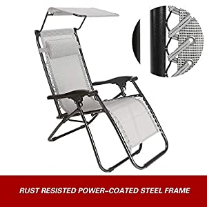 Superworth Set Of 2 Thicken Gray Folding Zero Gravity Chairs Sun Lounger Recliner For Beach Patio Garden Camping Outdoor…