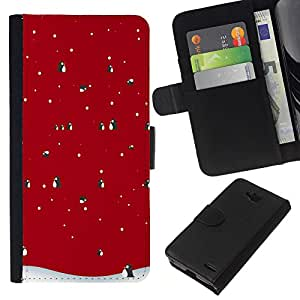 All Phone Most Case / Oferta Especial Cáscara Funda de cuero Monedero Cubierta de proteccion Caso / Wallet Case for LG OPTIMUS L90 // Winter Christmas Penguin Snow