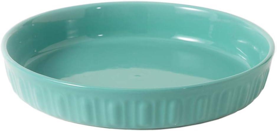 FE Pie Pan, Rome Pillar Pie Dish 10 Inch, Round Ceramic Bakeware Oven Safe, Non-Stick Pie Plate for Baking (Mint Green)