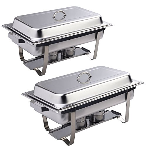 Giantex Rectangular Chafing Dish Stainless Steel Full Size 2 Pack of 9 Quart