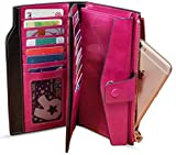 YALUXE Women's RFID Blocking Large Capacity Luxury Wax Genuine Leather Clutch Wallet Multi Card Organizer