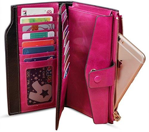 YALUXE Women's RFID Blocking Large Capacity Luxury Wax Genuine Leather Clutch Wallet Multi Card Organizer