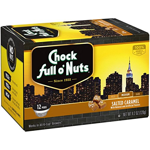Chock Full o'Nuts Single-Serve Coffee Pods, Salted Caramel Medium Roast - Premium Arabica Coffee - Compatible with Keurig K-Cup Brewers (12 Count)