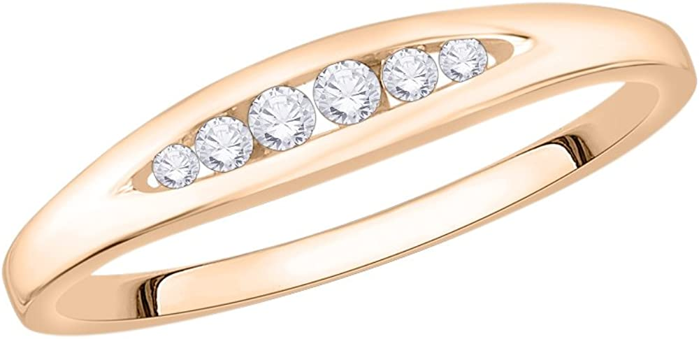 G-H,I2-I3 1//10 cttw, Size-8.5 Diamond Wedding Band in 10K Pink Gold
