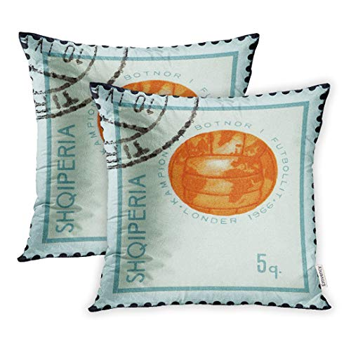 Emvency Set of 2 Albania Circa 1966 Stamp Printed in from The Football World Cup England Issue Shows Globe Form of Soccer Ball Throw Pillow Covers 16x16 Inch Decorative Cover ()