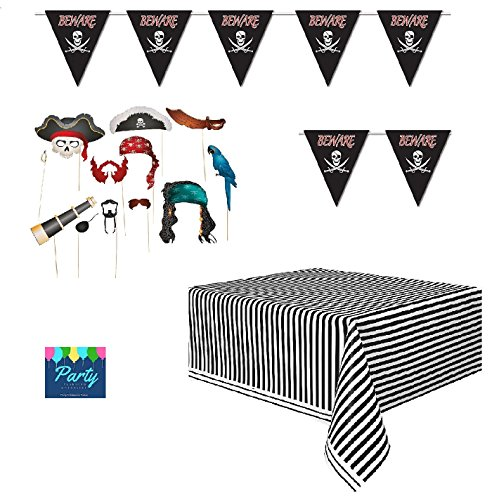 Pirate Theme Party (Pirate Party - Pirate Decorations - Pirate Photo Props, Large Pennant Banner and Black and White Table Cover)