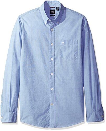 (Dockers Men's Beached Poplin Long Sleeve Button-Front Shirt, Delft Blue,)