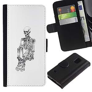 Paccase / Billetera de Cuero Caso del tirón Titular de la tarjeta Carcasa Funda para - Skull Skeleton Depressed White Black - Samsung Galaxy S5 V SM-G900