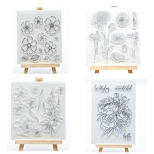 me 4pcs/Set Flower Series Clear Stamp for Card Making Decoration and Scrapbooking ()