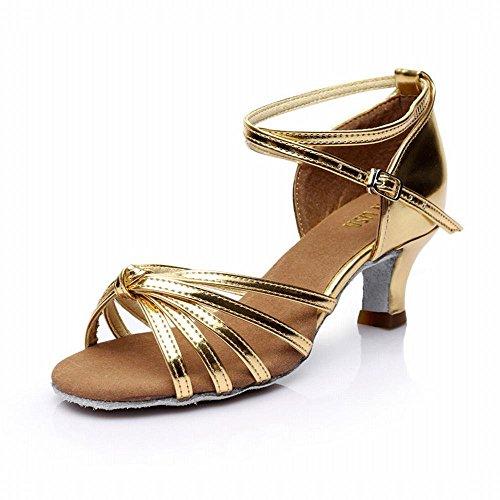 Samba Zapato de Sandalias Alto Modern BYLE de Adultos de Baile Nudo Blando Tacón de Baile Zapatos el Oro de Social Tobillo Jazz Fondo Latino Baile de Zapatos Cuero 5CM Onecolor Zapatos Baile Baile Yfd5q5w
