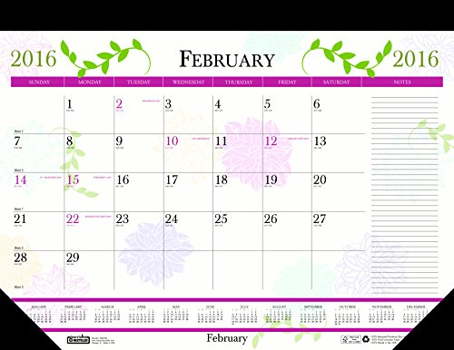 House of Doolittle 2016 Monthly Desk Pad Calendar, Earthscapes Whimsical Floral, 22