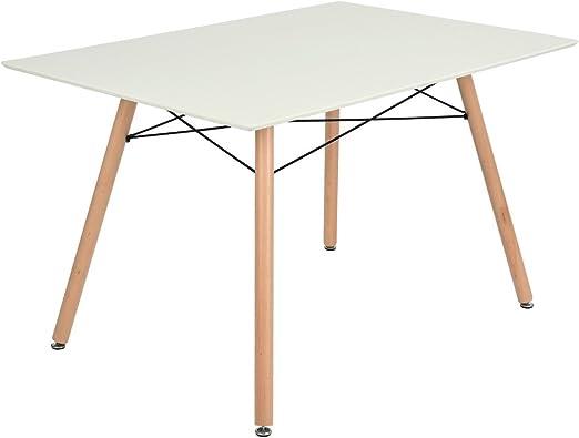 Furnish 1 Mesa de Comedor con Tablero de MDF Blanco y Patas de ...