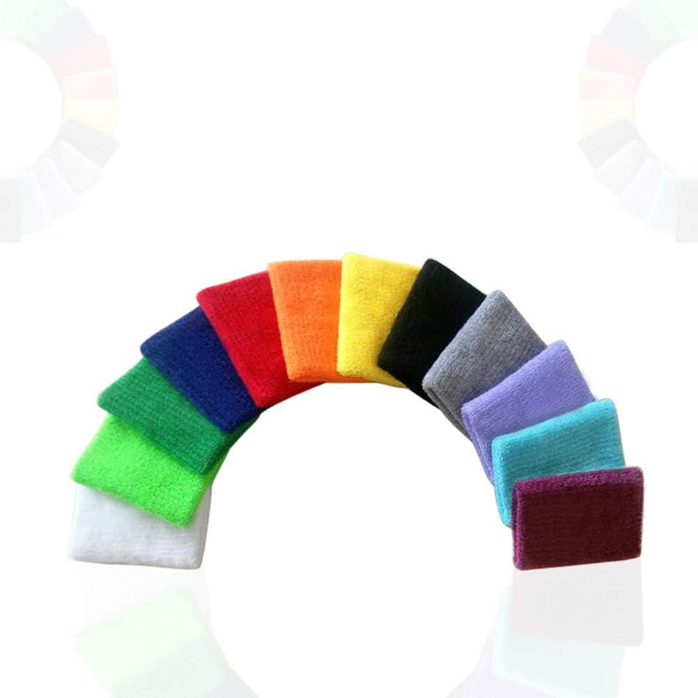 Vosarea 12pcs Sports Towel Wristband Cotton Sweat Athletic Sweatbands Cotton Terry Cloth Wristbands for Gym Sports Colorful 8x8CM Mixed Color