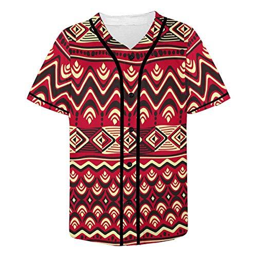 (INTERESTPRINT Men's African Art Tribal Print Baseball Jersey T-Shirts Plain Button Down Sports Tee 3XL)