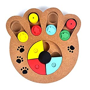 Pet Intelligence Toy PYRUS Eco-friendly Interactive Fun Hide and Seek Food Treated Wooden Pet Paw Puzzle Toy for small or midium dogs and cats.