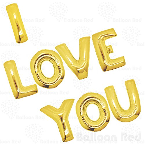 Love Balloon Bouquet (40 Inch Giant Jumbo Helium Foil Mylar Balloons Bouquet (Premium Quality), Glossy Gold, Letters I LOVE YOU)