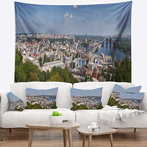 Price comparison product image Designart TAP7057-60-50 'Kiev Cityscape Panorama' Photography Tapestry Blanket Décor Wall Art for Home and Office,  Large: 60 in. x 50 in.