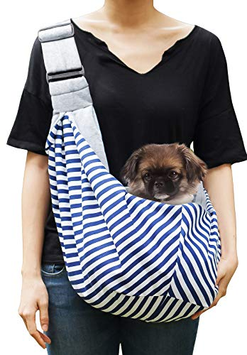 Timetuu Pet Sling Carrier for Small Dogs or Cats: Reversible Hands-Free Puppy Tote Bag with Adjustable Strap, Pocket and Bonus Carry Bag, Up to 12 Lbs ()