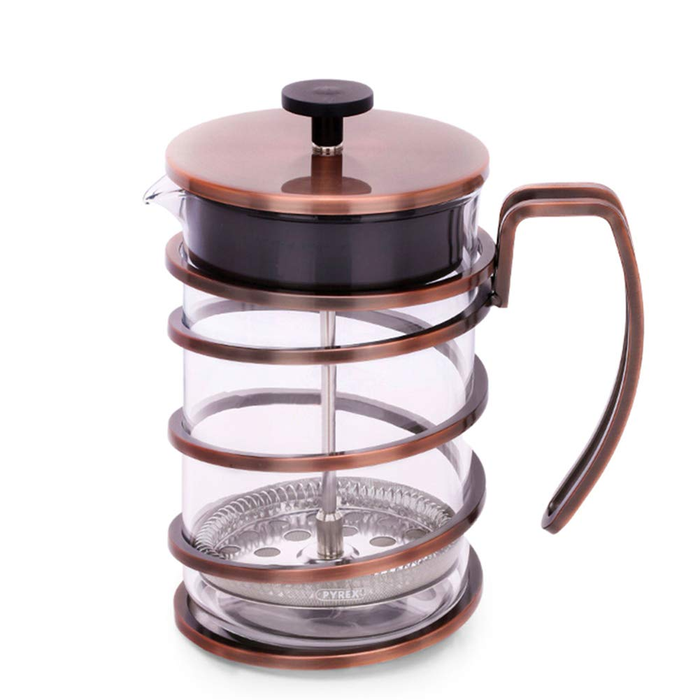 Coffee Pot Tea Pot Coffee Kettle Espresso Coffee Maker Coffee Machine French Coffee Press Glass Household Stainless Steel Filter Pressure GAOFENG (Color : Ancient Copper, Size : 800ml)