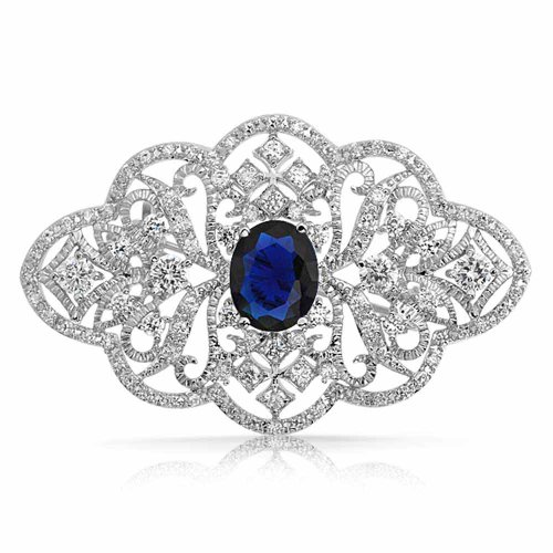 Bling Jewelry Statement Deco Style Royal Blue Pave CZ Filigree Simulated Sapphire Brooch Pin for Women for Mother Silver Plated Brass