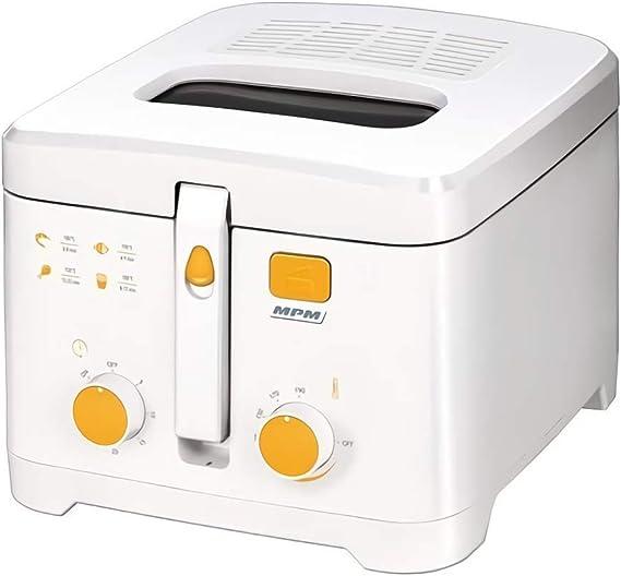 MPM MFR - 08 Freidora eléctrica compacta 2,5 litros cubeta desmontable lavable antiadherente, temporizador y regulador hasta 190°C, 1800W, Blanco: Amazon.es: Hogar
