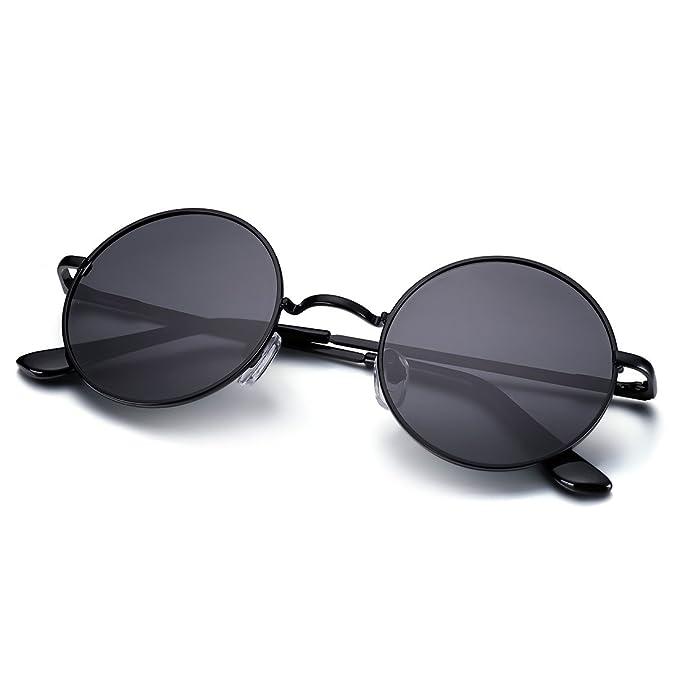 Menton Ezil John Lennon Pegueño Redondas Gafas de Sol Retro Vintage Estilo Hippy con Círculos Polarizados Lentes Marco de Metal para Hombres y Mujeres: ...