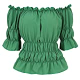 Women's Steampunk Victorian Peasant Blouse Renaissance Shirt Off The Shoulder Shirts Boho Tops 5XL