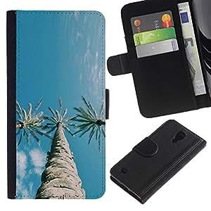 For Samsung Galaxy S4 IV I9500 Case , Trees Three Sky Blue Clear - la tarjeta de Crédito Slots PU Funda de cuero Monedero caso cubierta de piel